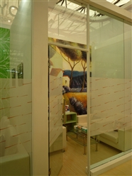 Indoor partition: Perforated window film